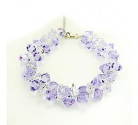 Bransoletka z kryształami Swarovski Elements o pięknej barwie Provence Lavender oraz Crystal  z kolekcji Casual