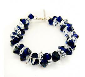 Bransoletka z kryształami Swarovski Elements o pięknej barwie Dark Indigo oraz Crystal  z kolekcji Casual