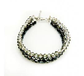 Olśniewająca srebrna bransoletka z kryształami Swarovski Elements w barwach nocy z kolekcji Casual