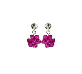Pełna blasku para kolczyków z kryształami Swarovski ELEMENTS z kolekcji Casual w kolorze Fuchsia