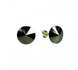 Wyjątkowa para kolczyków z kryształami Swarovski ELEMENTS w odcieniu Jet Hematite z kolekcji Casual