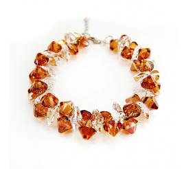 Pełna blasku bransoletka z kryształami Swarovski Elements o barwieCrystal Copper i Crystal z kolekcji Casual