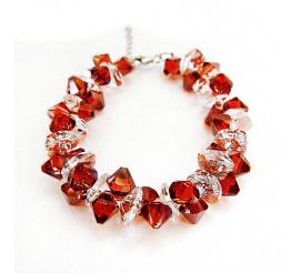 Wyjątkowa bransoletka z kryształami Swarovski Elements o barwie Red Magma i Crystal z kolekcji Casual