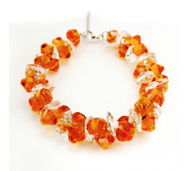 Wyjątkowa bransoletka z kryształami Swarovski Elements o soczystej barwie Tangerine i Crystal z kolekcji Casual