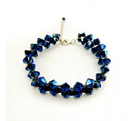 Zjawiskowa bransoletka z kryształami Swarovski Elements w wyjątkowych odcieniu Metallic Blue