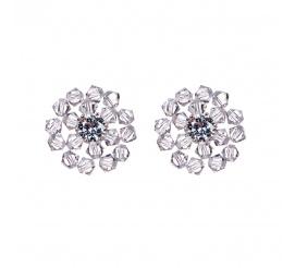 Urokliwe kolczyki - kwiatuszki - stworzone z kryształów Swarovski ELEMENTS w odcieniu Crystal oraz cyrkoni