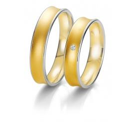 Wklęsła damska obrączka ślubna Breuning z dwóch kolorów złota z brylantem