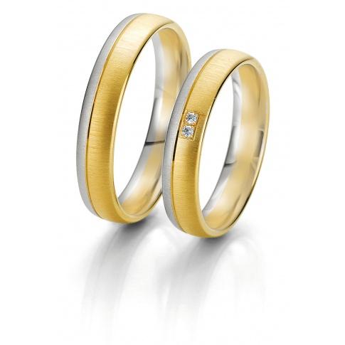 Męska obrączka ślubna Breuning z kolekcji Rainbow - białe i żółte złoto