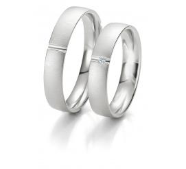 Damska obrączka ślubna Breuning z białego, 8-karatowego złota z brylantem