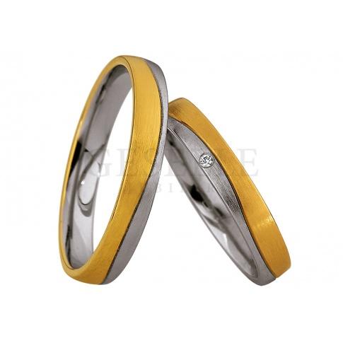 Dwukolorowa męska obrączka ślubna z kolekcji Saint Maurice z białego i żółtego złota