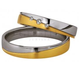 Pełna elegancji obrączka damska Saint Maurice z dwóch kolorów złota 8K i trzema brylantami