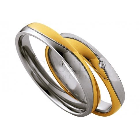 Delikatna damska obrączka z dwóch kolorów 8-karatowego złota z lśniącymi brylantem