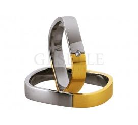 Fantazyjna męska obrączka ślubna Saint Maurice z białego i żółtego złota próby 333