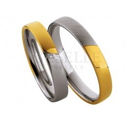 Delikatna męska obrączka ślubna Saint Maurice z brylantem - połączenie białego i żółtego złota 8K