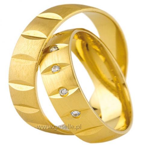 Oryginalne złote obrączki ślubne z poprzecznymi nacięciami i lśniącymi cyrkoniami Swarovski ELEMENTS