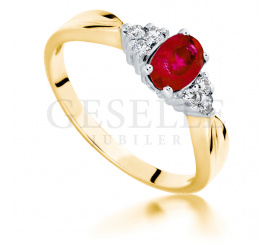 Oryginalny pierścionek ze złota 14K z brylantami i rubinem idealny na romantyczne zaręczyny