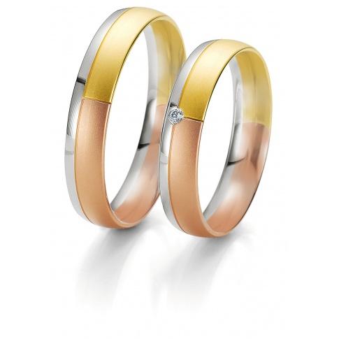 Klasyczna męska obrączka w nowoczesnym wydaniu- z białego, żółtego i czerwonego złota