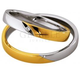 Dwukolorowa damska obrączka ślubna z białego i żółtego złota 8K z lśniącym, brylantowym oczkiem