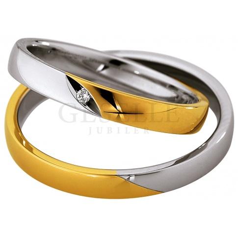 Dwukolorowa męska obrączka ślubna z białego i żółtego złota 8K