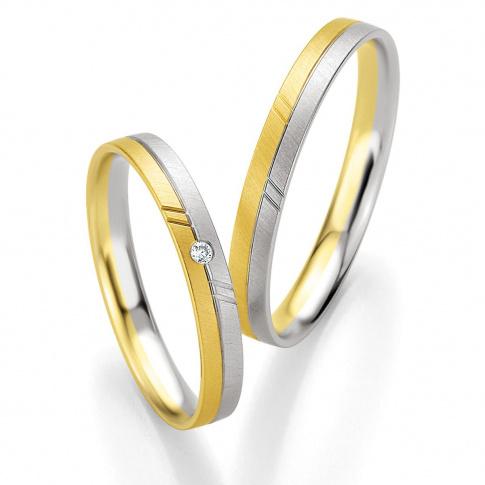 Dwukolorowa męska obrączka ślubna z 8karatowego złota - kolekcja BASIC LIGHT Breuning