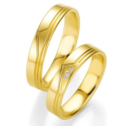 Złota damska obrączka ślubna z kolekcji BASIC LIGHT z ozdobnymi liniami i brylantami w trójkątnej oprawie