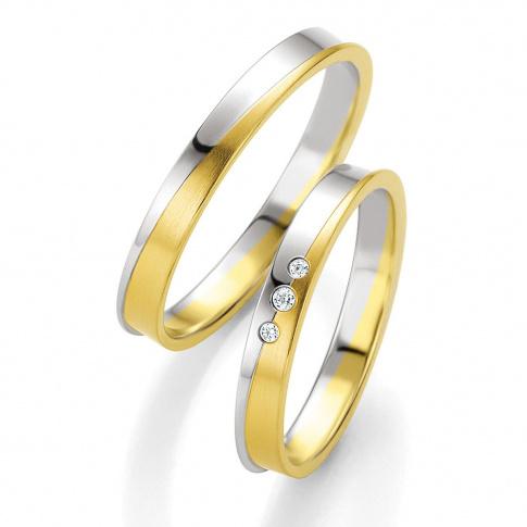 Męska dwukolorowa obrączka z białego i żółtego złota z wysuniętą krawędzią