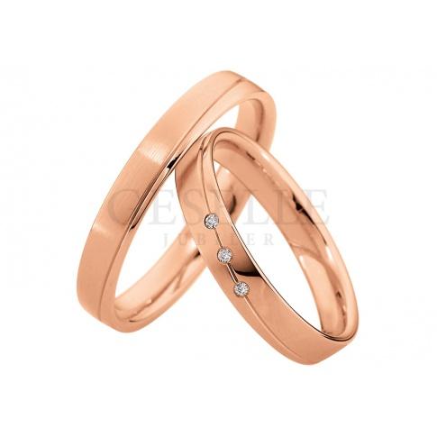 Oryginalna damska obrączka ślubna z różowego złota z linii Light z  lśniącymi brylantami
