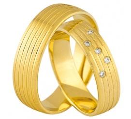 Eleganckie obrączki ślubne z żółtego, 14-karatowego złota z cyrkoniami Swarovski ELEMENTS - możliwość oprawienia brylantów
