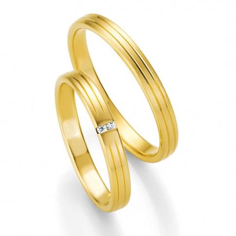 Delikatna męska obrączka ślubna Breuning z kolekcji BASIC LIGHT - żółte złoto próby 333 subtelne zdobienie
