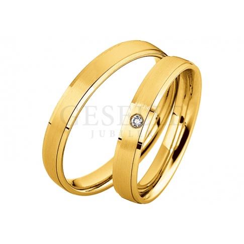 Elegancka damska obrączka ślubna - minimalistyczny design, żółte złoto i pełen blasku brylant