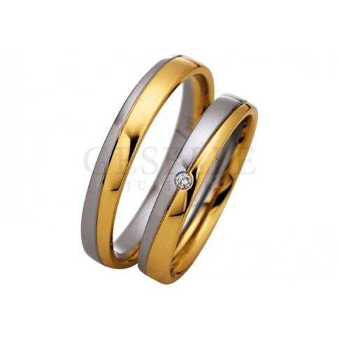 Damska obrączka ślubna Saint Maurice - połączenie dwóch kolorów złota, klasyczny design i wieczny brylant