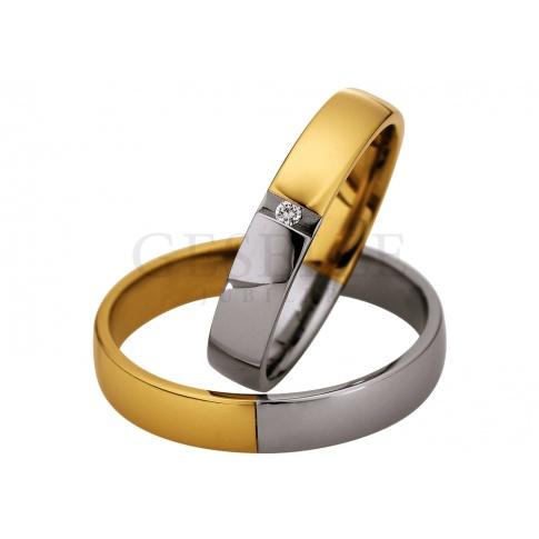 Elegancka damska obrączka - połączenie dwóch połówek z białego i żółtego złota z lśniącym brylantem
