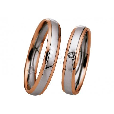 Klasyczna damska obrączka ślubna z białego palladowego i różowego złota z lśniącym oczkiem