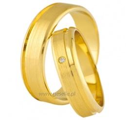 Elegancka para obrączek ślubnych z klasycznego złota pr. 585 z cyrkonią Swarovski ELEMENTS lub brylantem