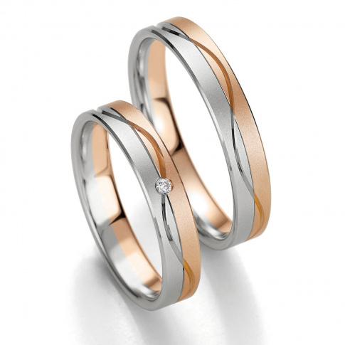 Męska dwukolorowa obrączka ślubna Breuning z białego i czerwonego złota