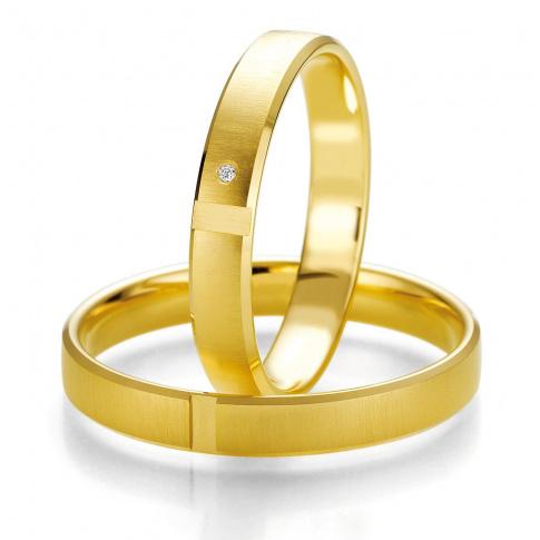 Elegancka, damska obrączka ślubna Breuning z żółtego złota z lśniącym kamieniem - najprawdziwszym brylantem