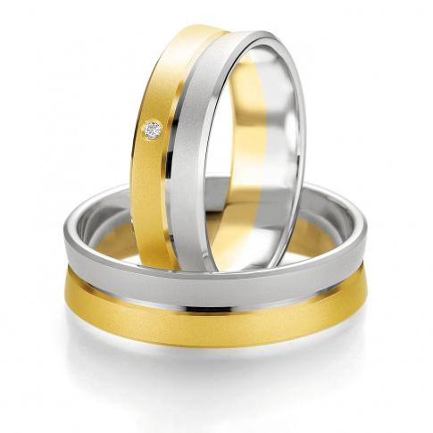 Dwukolorowa męska obrączka ślubna z białego i żółtego złota - dwa zespolone pierścienie