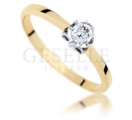Klasyczny pierścionek zaręczynowy z żółtego złota próby 585 z brylantem 0,18 ct i uroczą oprawą w kształcie motyla