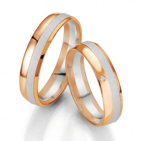 Niezwykła męska obrączka ślubna z białego i czerwonego złota 14K