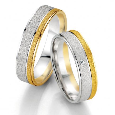 Matowa damska obrączka ślubna Breuning z białego i żółtego złota z polerowanymi liniami