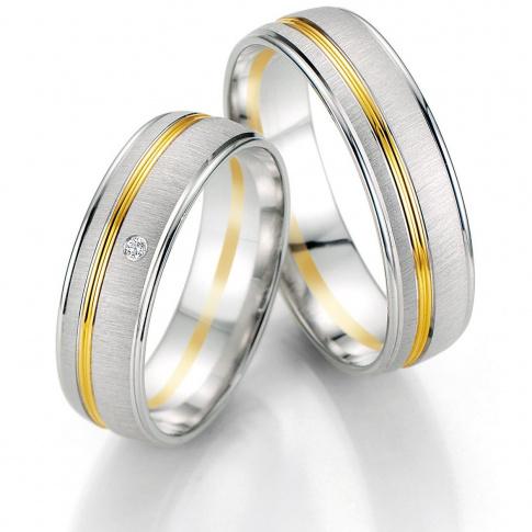 Męska dwukolorowa obrączka ślubna z białego i żółtego kruszcu firmy Breuning