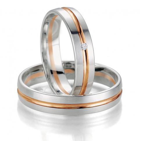 Bardzo popularna damska obrączka ślubna Breuning - pełne blasku białe złoto i czerwona linia z lśniącym brylantem