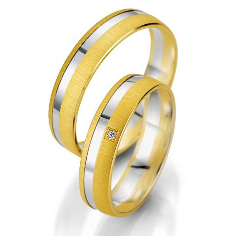 Delikatna męska obrączka ślubna z dwóch kolorów złota - matowe żółte złoto i polerowana linia z białego kruszcu