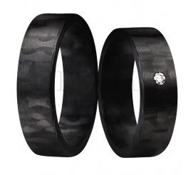 Niezwykłe nowoczesna para obrączek ślubnych wykonana z karbonu z cyrkonią Swarovski ELEMENTS
