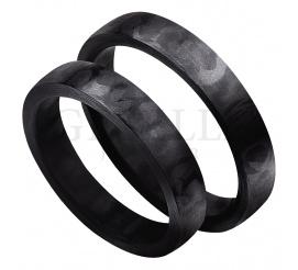 Idealne połączenie klasyki z nowoczesnością - półokrągłe obrączki ślubne wykonane z włókna węglowego - karbonu