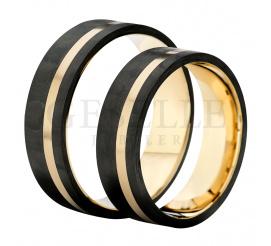 Absolutnie wyjątkowa para obrączek ślubnych wykonana z czarnego, nowoczesnego karbonu w połączeniu z żółtym złotem w próbie 585 (14K)