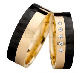 Olśniewający i nowoczesny komplet obrączek ślubnych z żołtego 14K złota i karbonu z lśniącymi cyrkoniami Swarovski Elements
