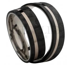 Obrączki ślubne łączące w sobie nowoczesność i elegancję - połączenie karbonu z tytanem - idealne dla Nowożeńców