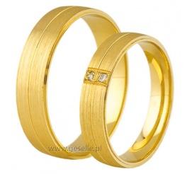 Wyjątkowa para obrączek ślubnych z żółtego złota próby 585 z cyrkoniami Swarovski ELEMENTS lub brylantami
