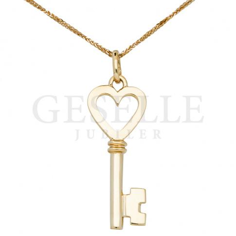 Oryginalna zawieszka w kształcie kluczyka wykonana ze złota w próbie 585